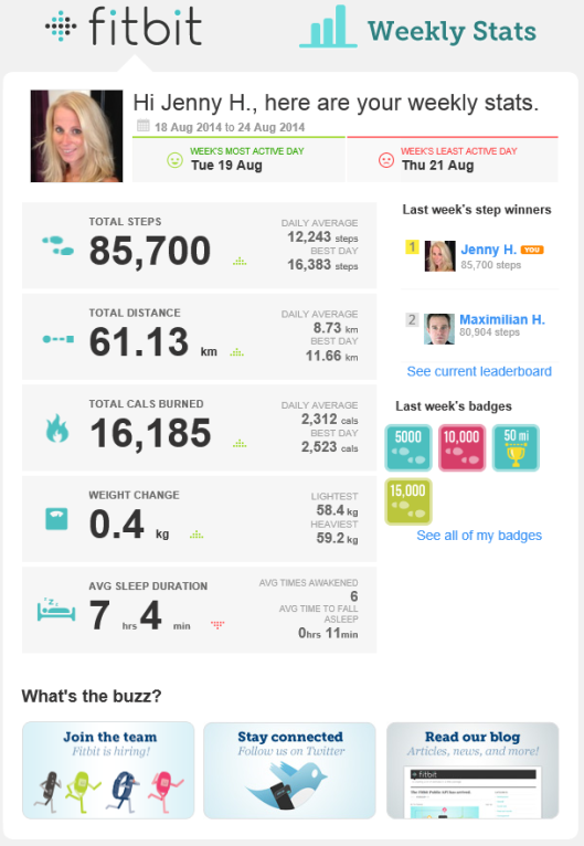 Fitbit weekly stats